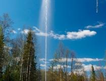 Фонтан в национальном парке Зюраткуль весной