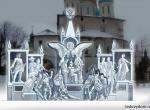 Ледяной монумент ко дню 400-летия Дома Романовых