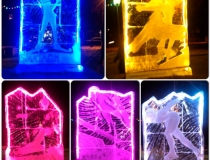 Ледяные стелы с цветной подсветкой