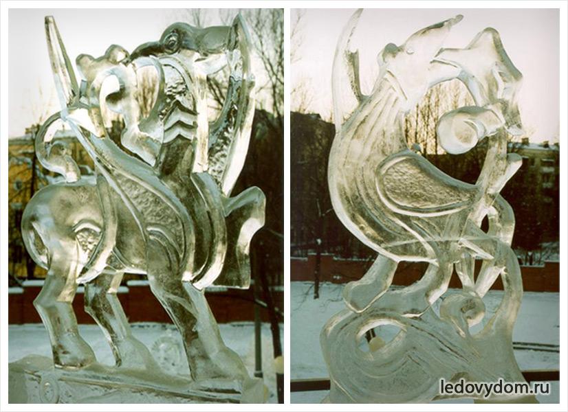 Ледяные скульптуры с животными мотивами