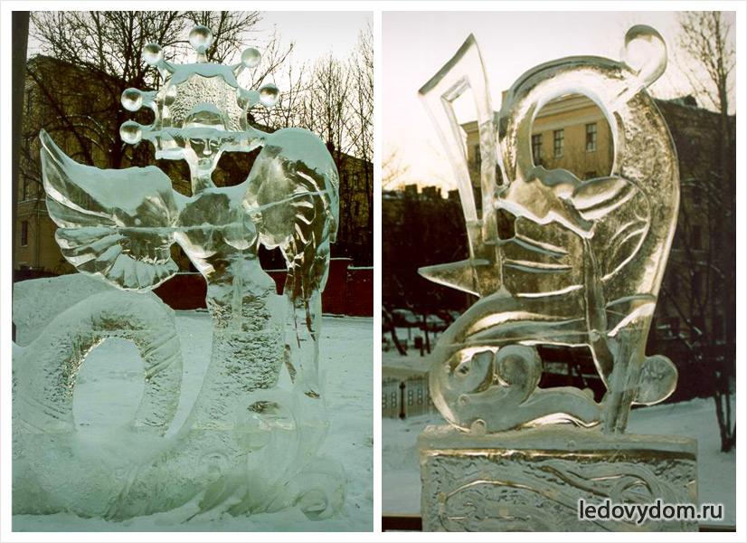 Декоративные ледяные композиции с зооморфными формами