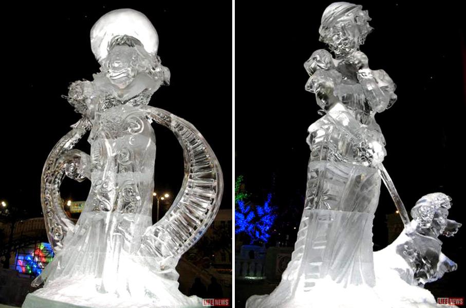 Фотографии ледяных скульптур выполненных по мотивам произведений А. П. Чехова
