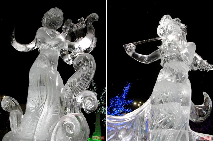 Фото ледовых фигур героинь Чеховских произведений
