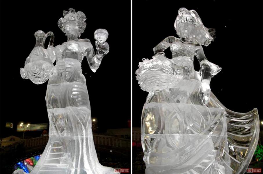 Фото скульптур изо льда выполненных для фестиваля в Екатеринбурге