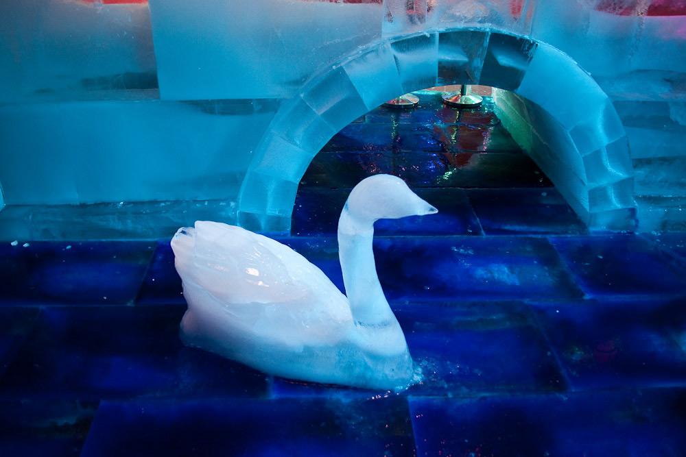 Озеро и лебеди изо льда