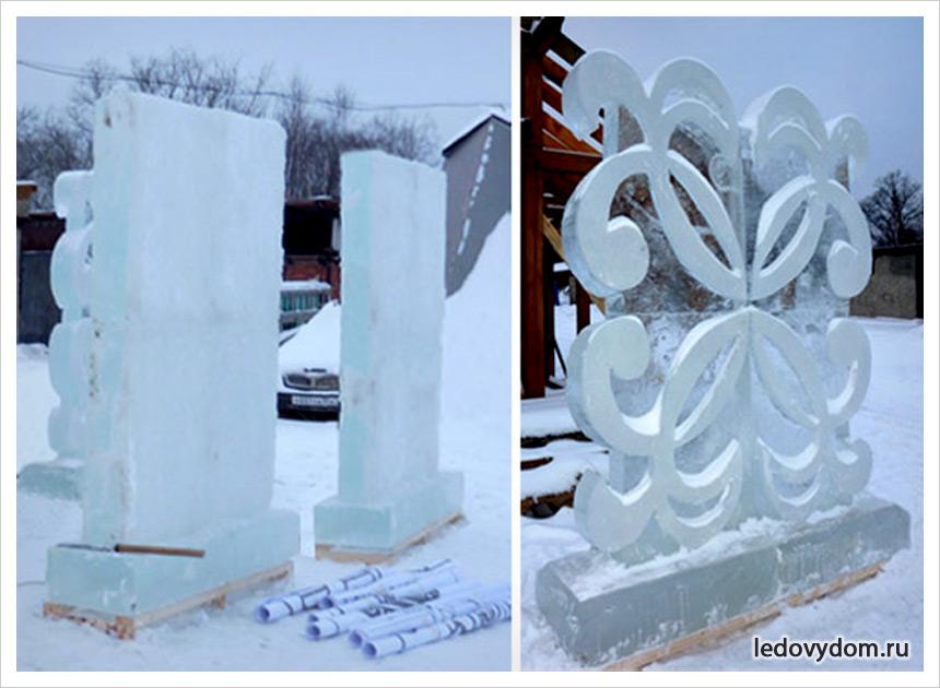 Ледяное оформление городской площади в городе Коломна