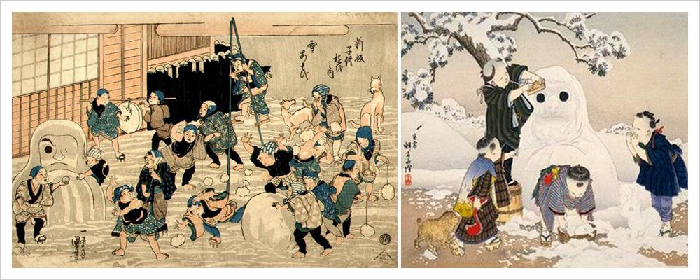 Юки-Дарума японский снеговик