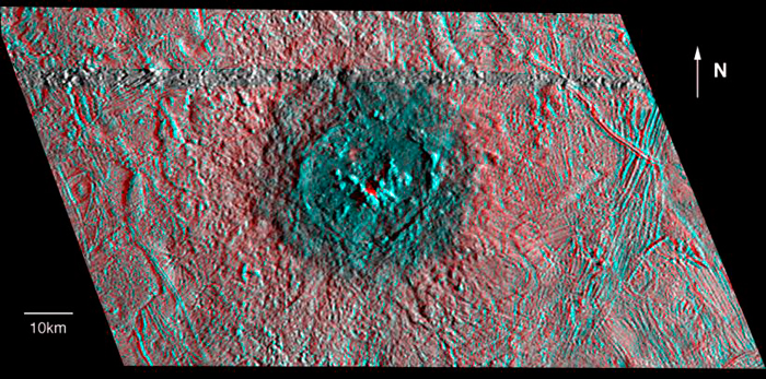 Илл.15. Изображение кратера Пвилл, обработанное для просмотра в формате 3D.