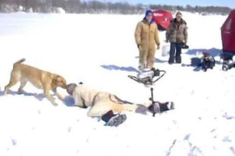 Родео на зимней рыбалке