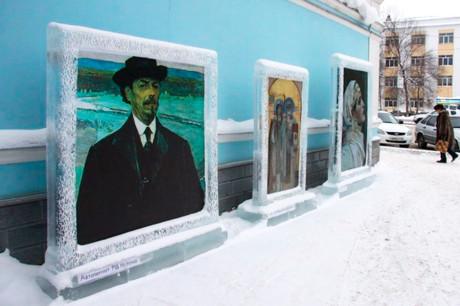 Работы Михаила Нестерова в ледяных рамах