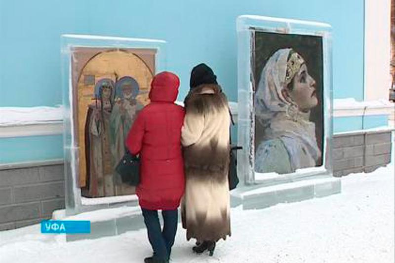 Работы Нестерова в ледяных рамах