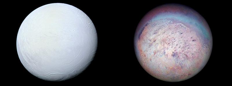 Илл.1. Ледяные спутники Энцелад (слева) и Тритон