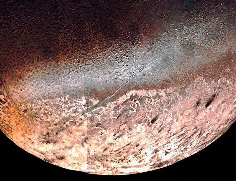 Илл.9. Рельефные области на поверхности Тритона