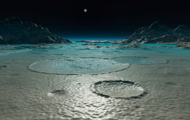 Илл.10. Ледяная поверхность Тритона (художественное изображение)