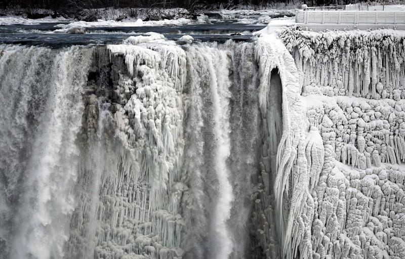 Ледяной рельеф Ниагарского водопада