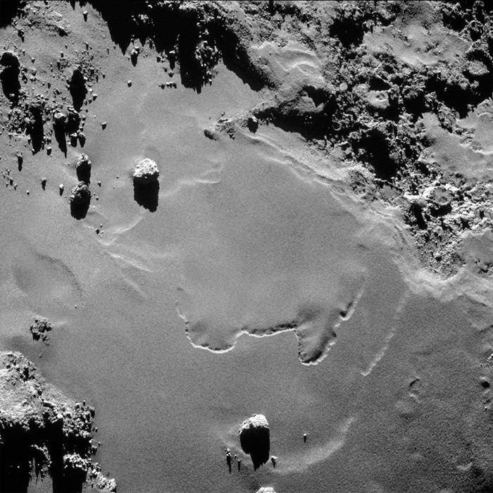 Илл.14. Фрагмент поверхности ядра кометы Чурюмова-Герасименко.