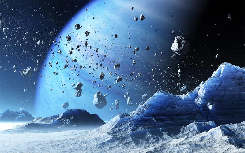 Илл.15. Вид с ледяного спутника на газовую планету в окружении каменно-ледяных глыб (художественное изображение).