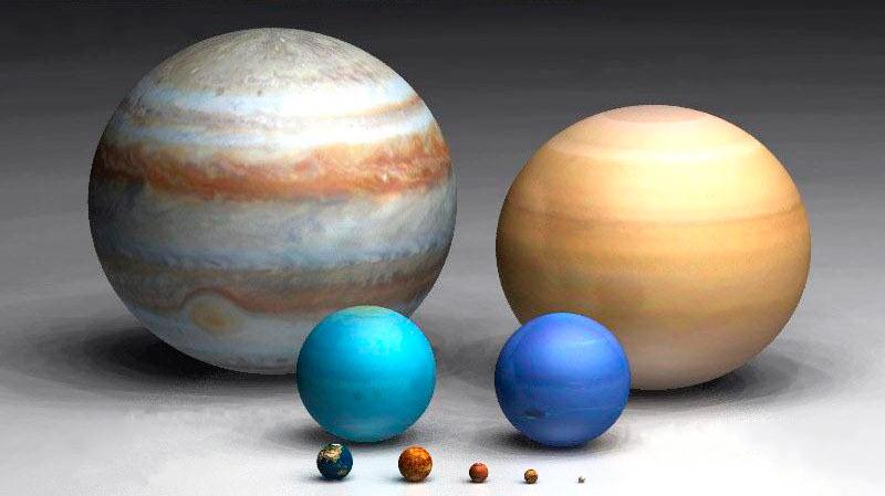 Илл.3. Компьютерная модель планет для сравнения их размеров. В порядке убывания слева направо от заднего ряда к переднему – Юпитер, Сатурн (без колец), Уран, Нептун, Земля, Венера, Марс, Меркурий, Плутон (с 2006 г. карликовая планета).
