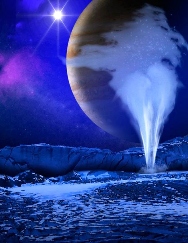 Илл.6. Ледяной гейзер на спутнике Юпитера в представлении художника