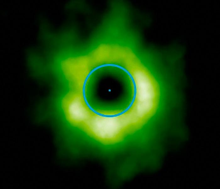 Илл.8. Изображение звездной системы TW Hydrae. Зеленое облако – область замерзания угарного газа. Синее кольцо – условная орбита Нептуна, наложенная для сравнения.