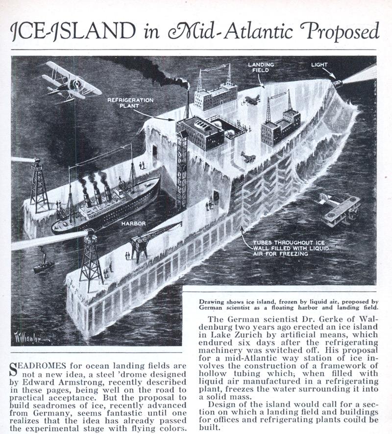Проект Ледяного плавучего острова доктора Артура Герке, 1932 г.