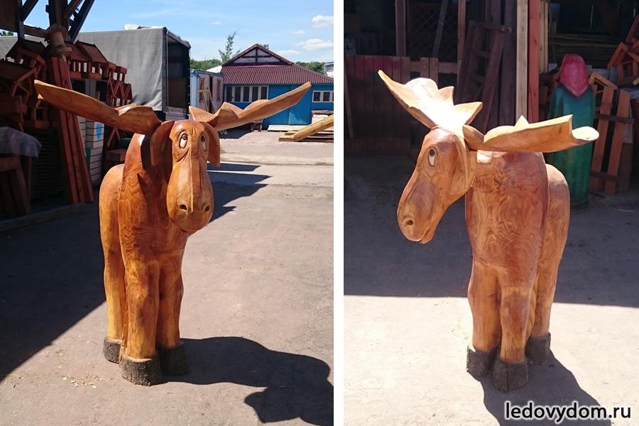 Деревянная скульптура Лось