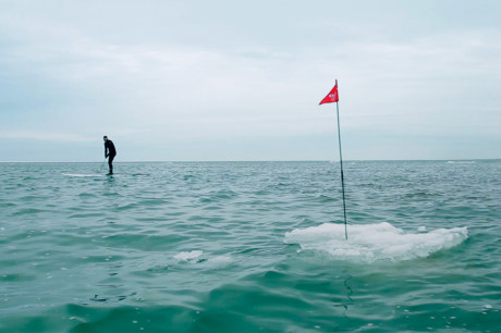 Гольф на льду озера Мичиган