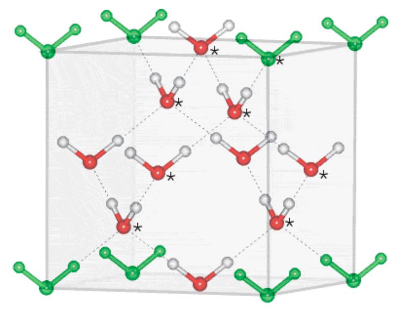 Илл. 11. Расположение молекул в кристалле кубического льда.