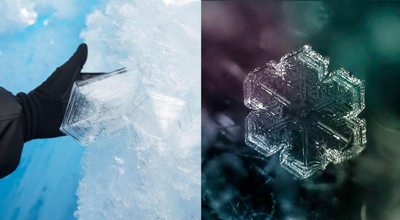 Илл. 2. Шестиугольное строение ледяных кристаллов.